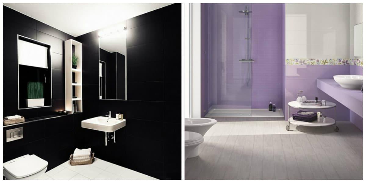 Baños 2020- colores negro y violeta dan una gracia a su bano
