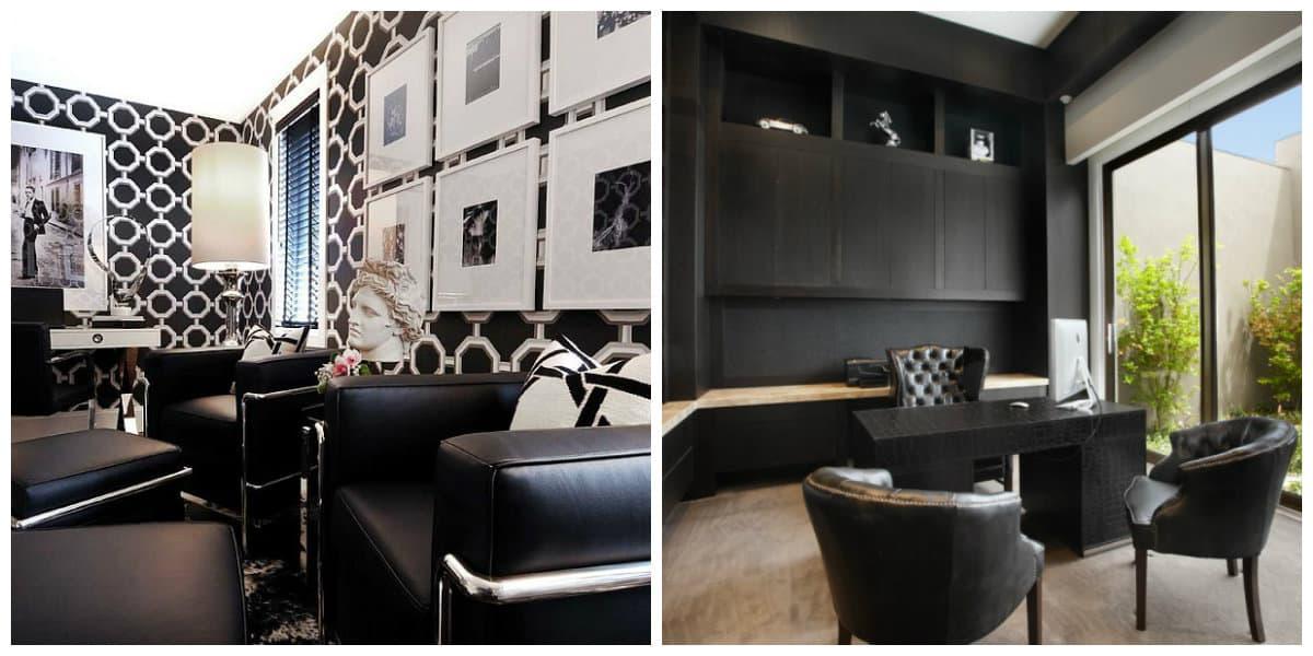 Oficinas 2020- color negro es un clasico entre disenos de oficinas