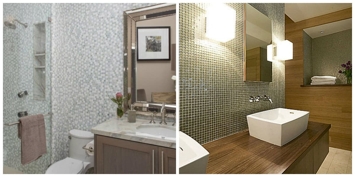 Baños pequeños 2020- paredes con acento estan en tendencia