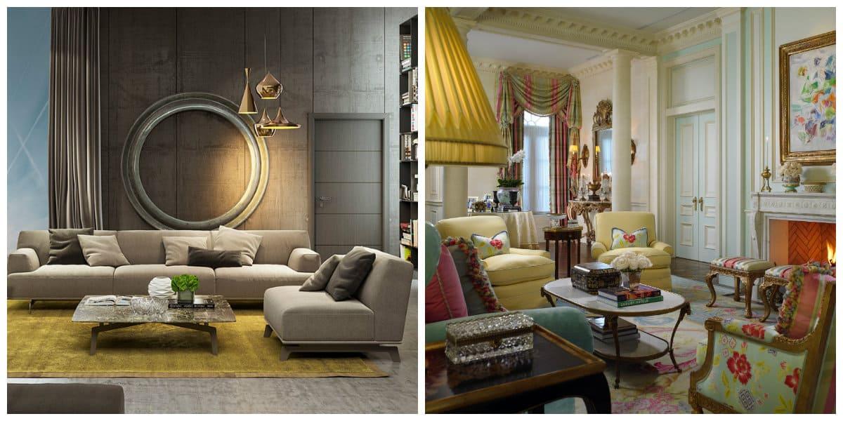 Decoración de sala de estar- acaboados y maderiales de moda