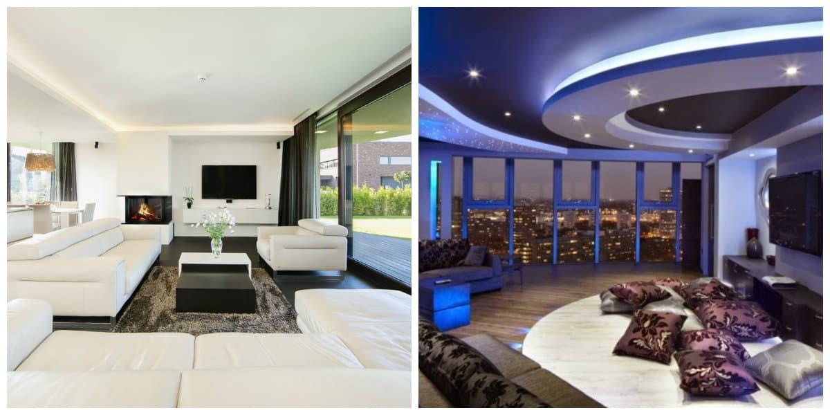 Decoración de salas modernas- iluminacion con soluciones diferentes