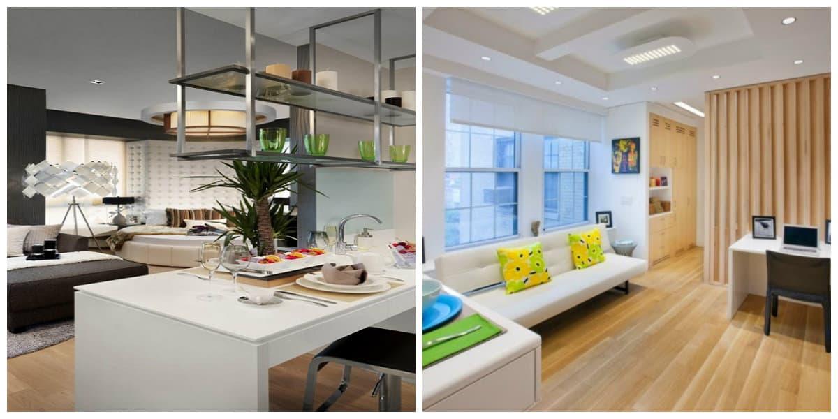 Diseños de apartamentos- cocina y sala de estar en un lugar