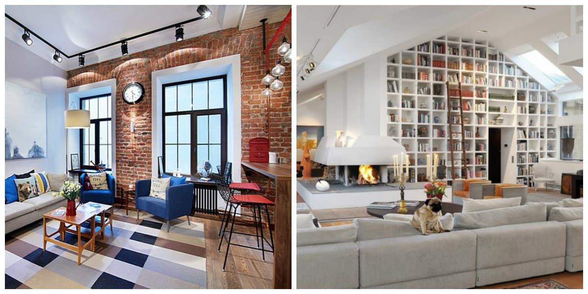 Estilo loft- libreira y sala de estar modernas de hoy