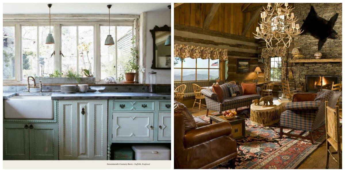 Estilo rústico- cocinas y salas de estar al estilo de moda