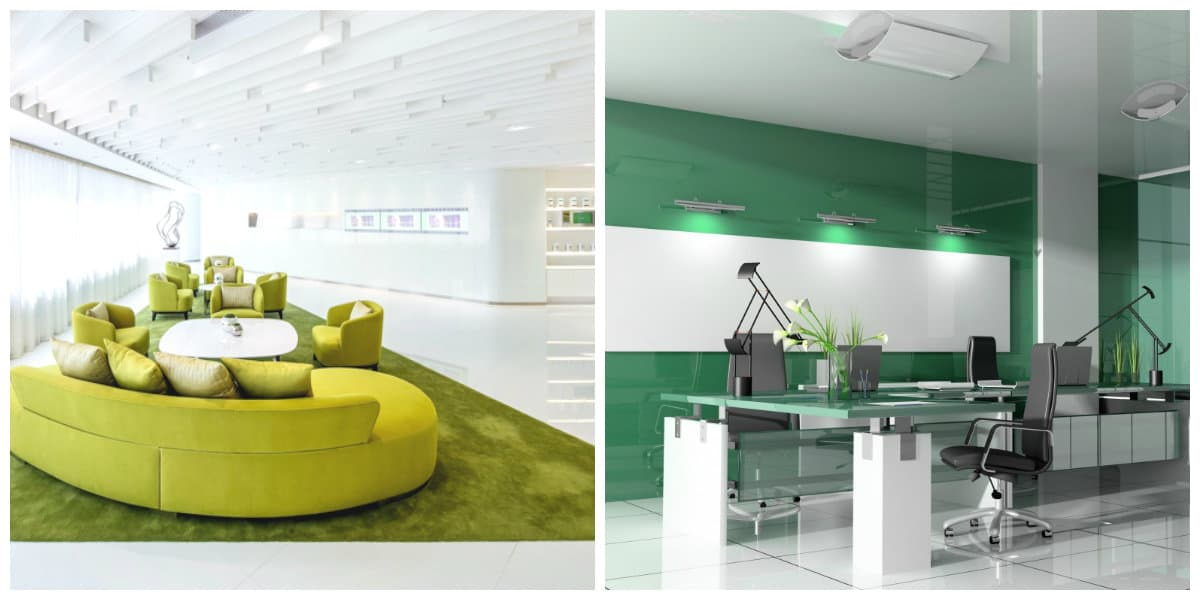Oficina verde dise o interior moderno de oficina 2018 for Oficina en casa diseno