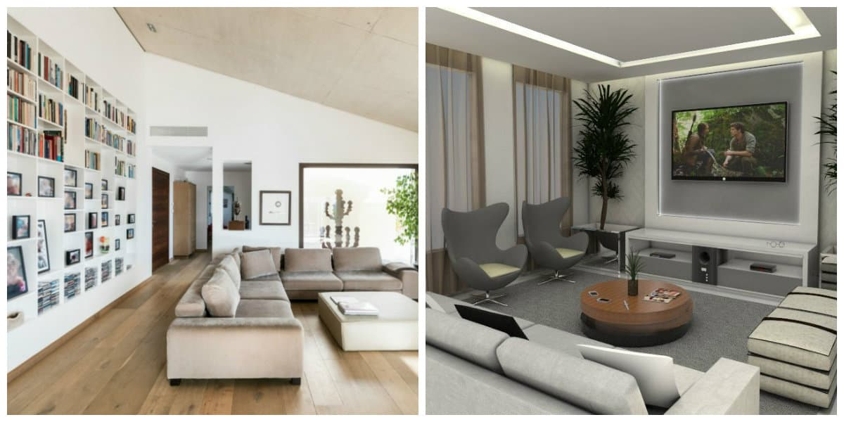 Salas de estar modernas- combinaciones con naturaleza