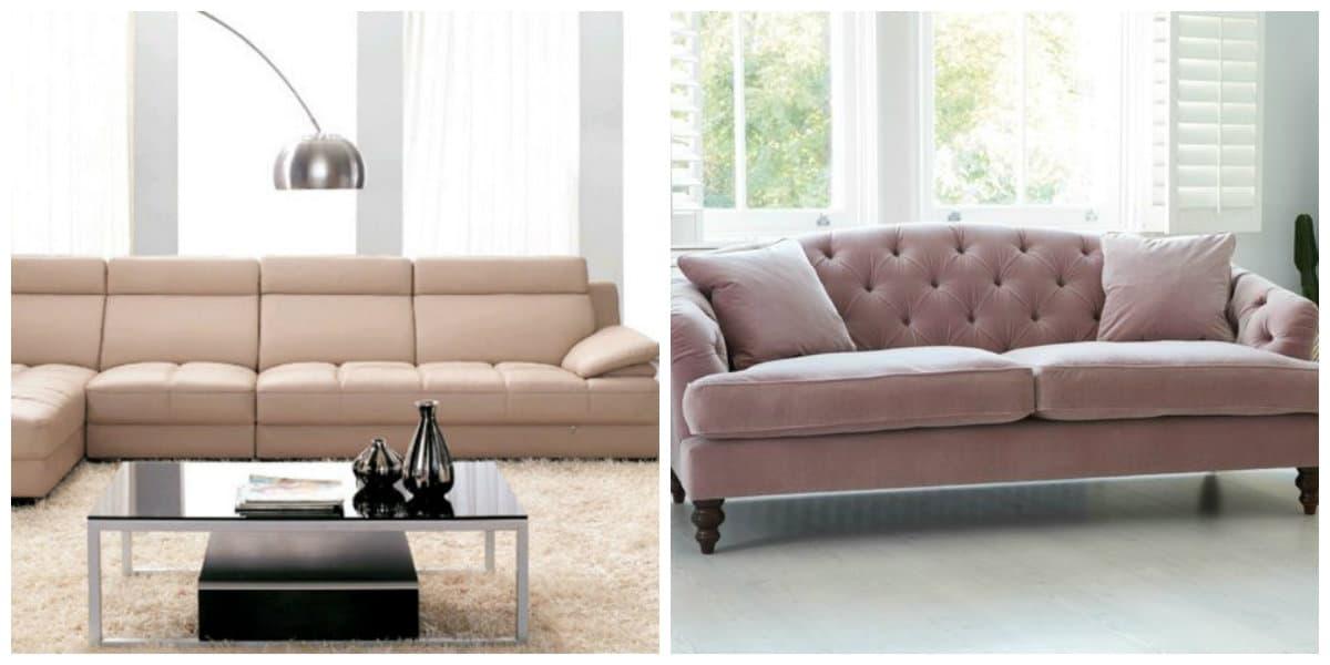 Sofás modernos 2020- tonalidades de beige muy de moda