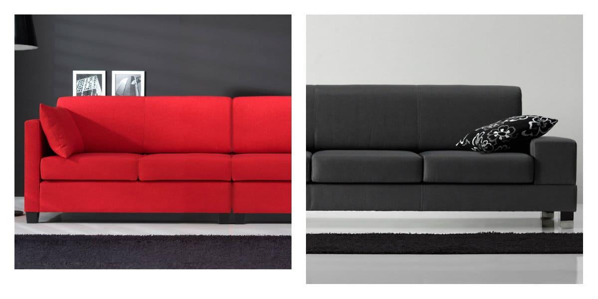 Sofás modernos 2018- colores negro y rojo muy de moda