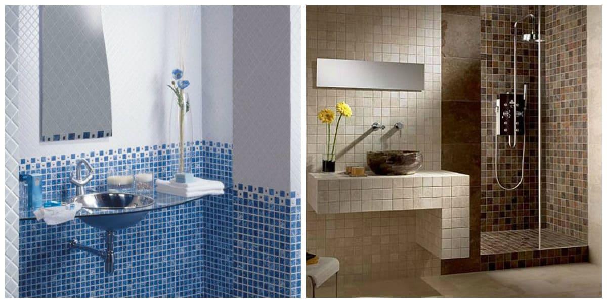 Azulejos para baños 2018- color azul y beige con sus tonalidades