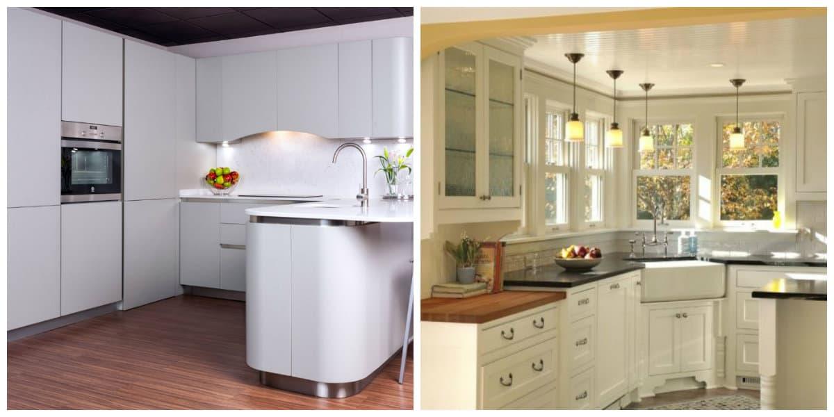 Cocina de esquina- color blanco y beige como las principales tendencias