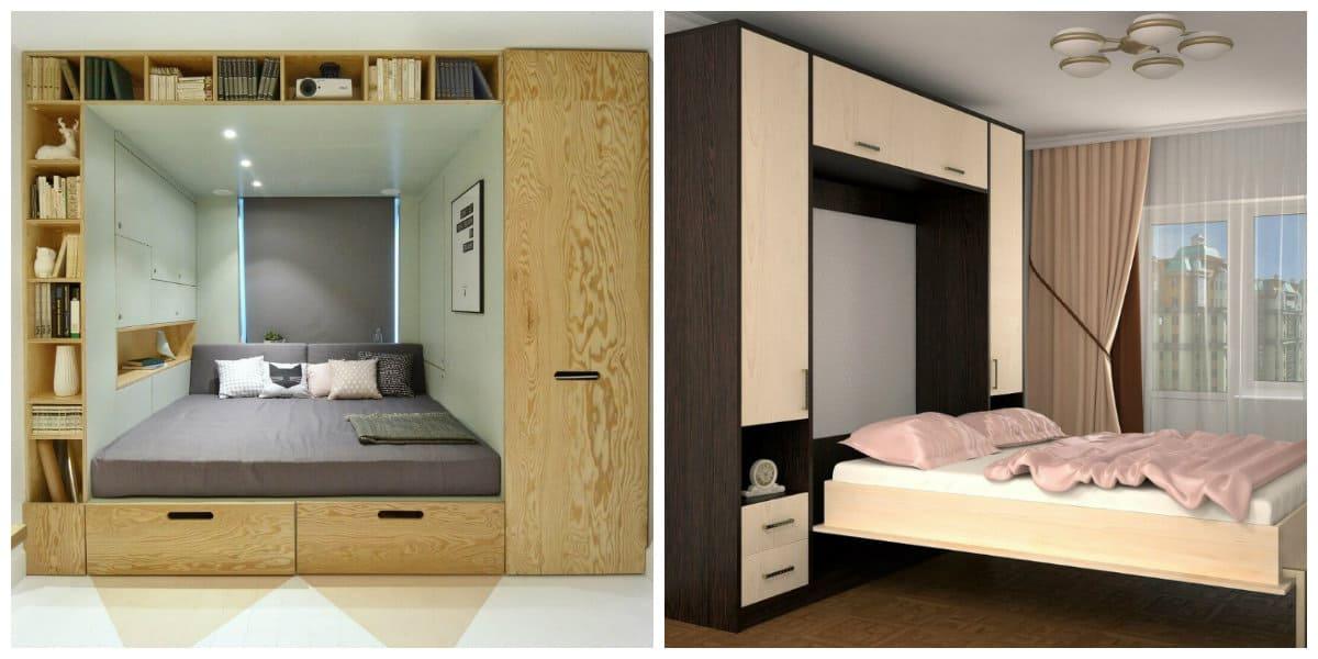 Diseño de gabinete- armarios y camas en un lugar para espacios pequenos