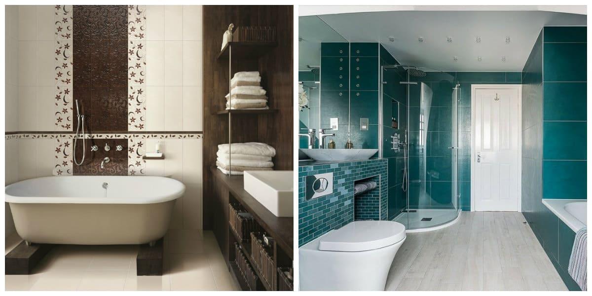 Ideas de baños- color marron y azul como moda clasica de banos