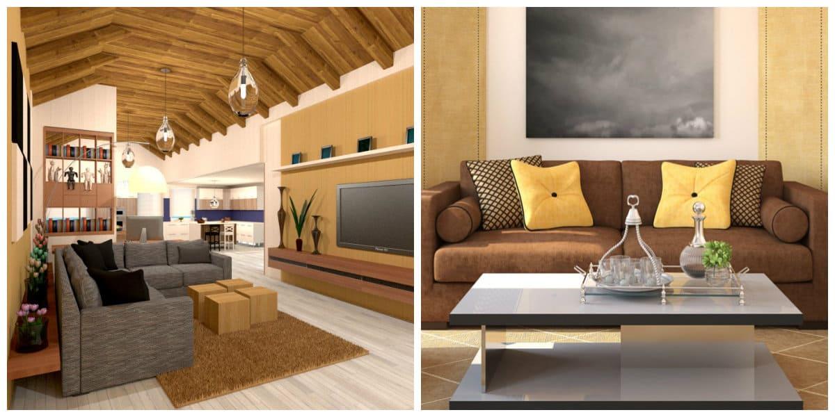 Ideas de salas de estar- uso de almohadas y texturas de madera de moda