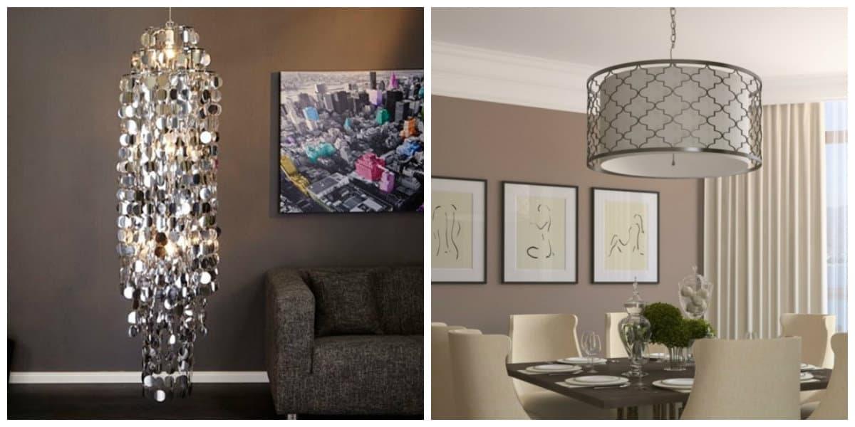 Lámparas modernas- combinacion de lamparas con el color del salon