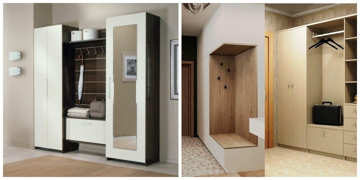 Pasillos modernos- armarios de madera para colgar la ropa