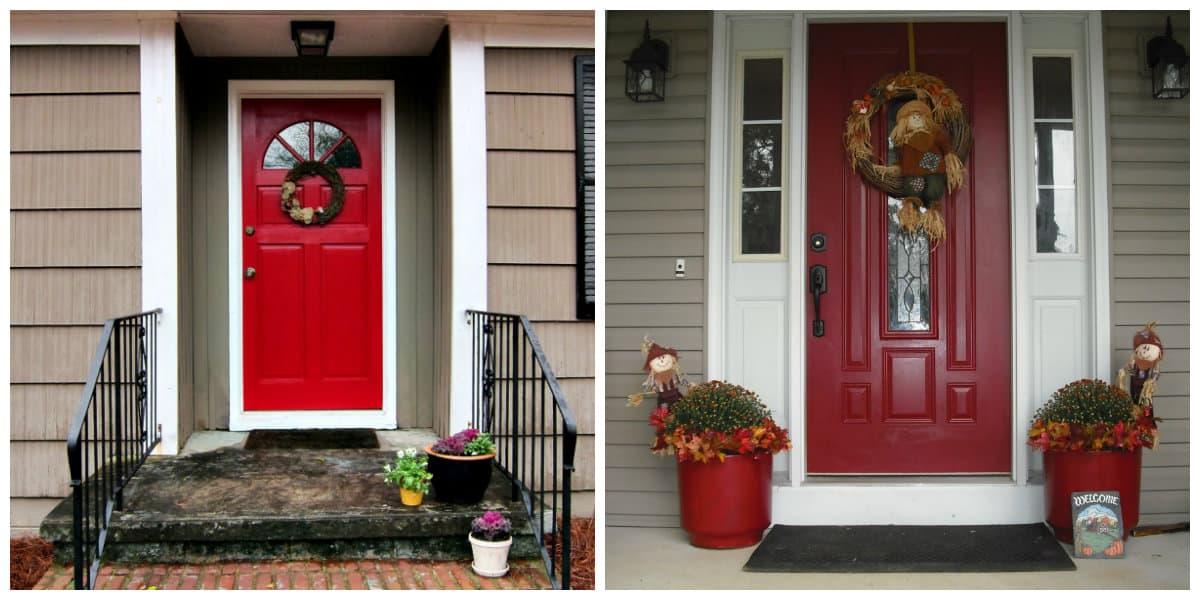 Puertas de entrada- colores calientes com el rojo oscuro