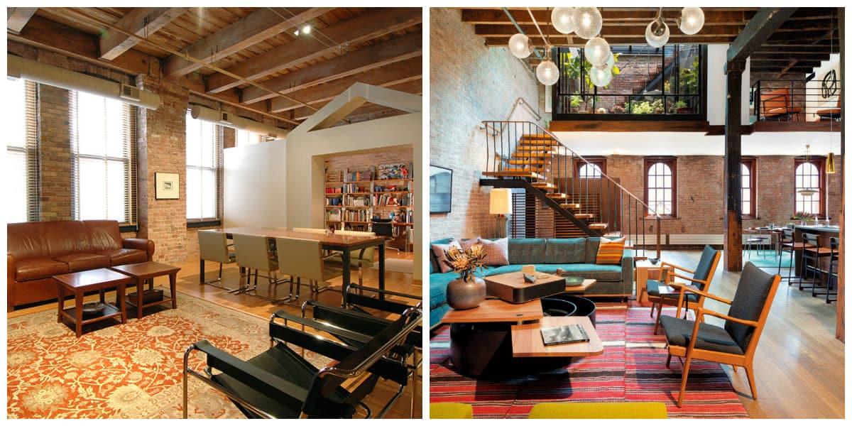 Apartamento estilo loft- uso de detalles de madera de moda