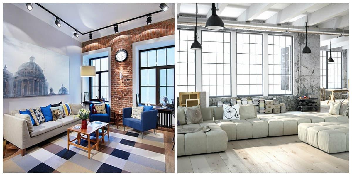 Apartamento estilo loft- contraste de colores claros y oscuros