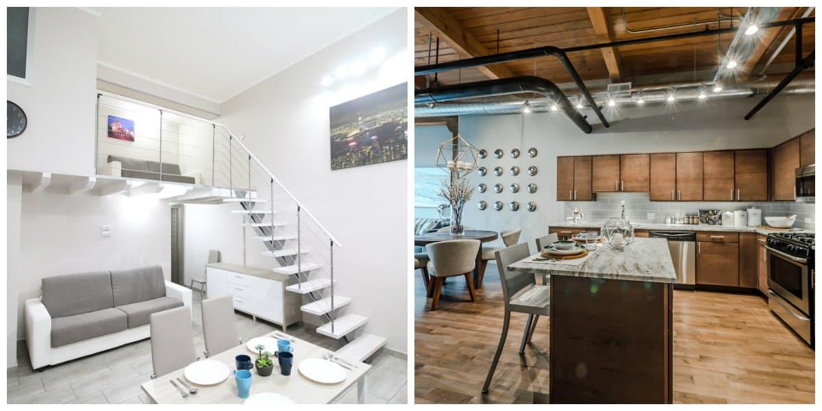 Apartamento loft- el uso de las esclaeras que une el dormitorio es muy comun