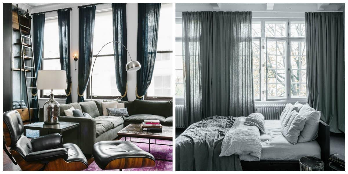 Cortinas para loft- colores que son muy adecuados para una casa en estilo loft