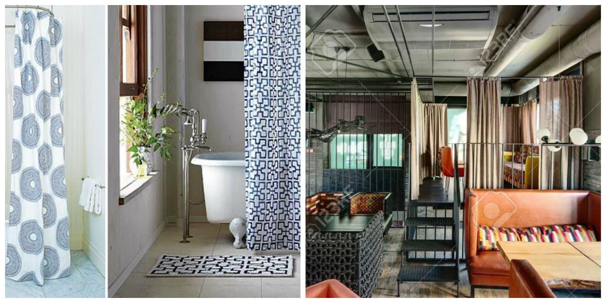 Cortinas para loft- ideas para los banos y las salas de estar de moda