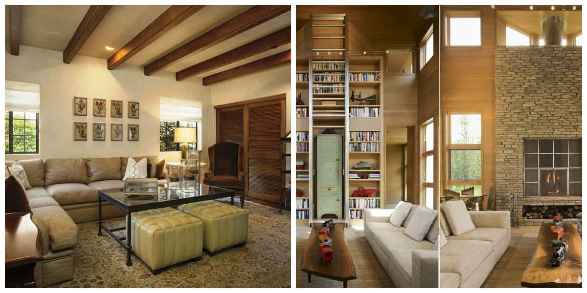 Decoracion casas de campo- una libreria muy grande con escalones