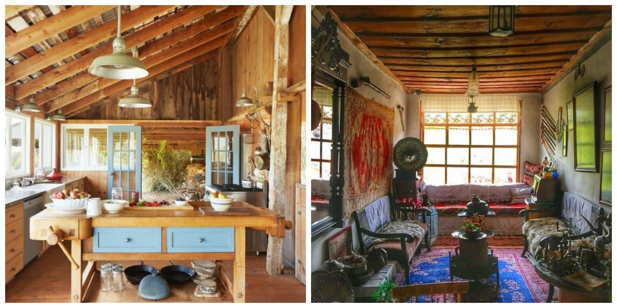 Decoracion casas de campo- alfombras y lamparas muy antiguas