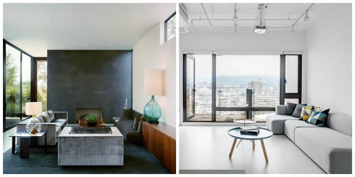 Decoracion de interiores minimalista- vista al patio mediante ventanas