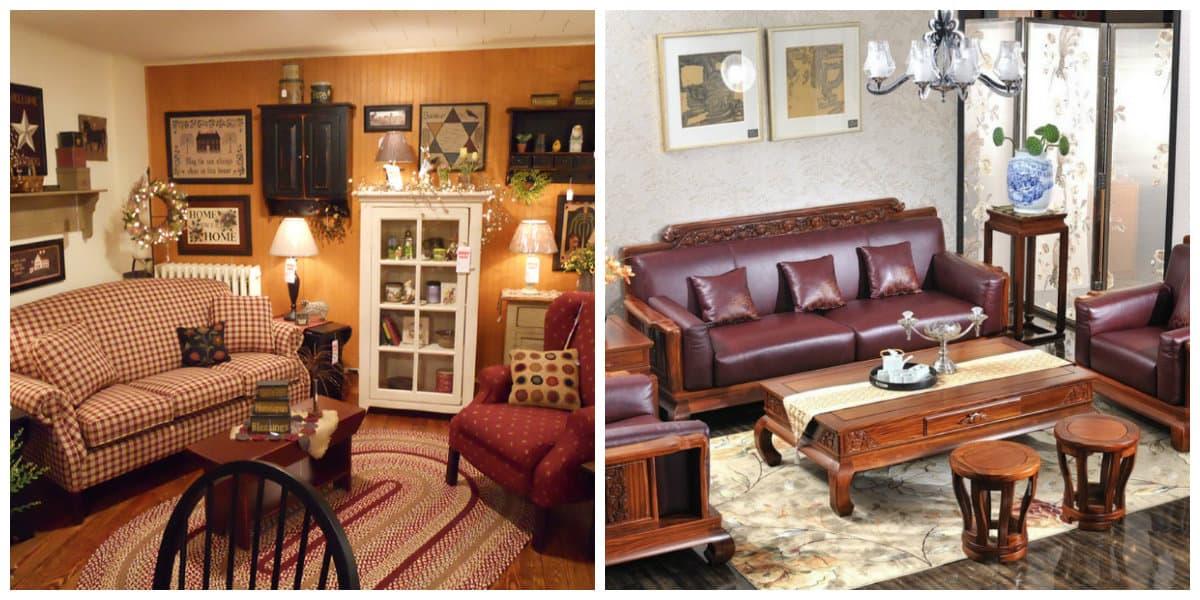 Muebles estilo campo- el uso de los colores oscuros es recomendable