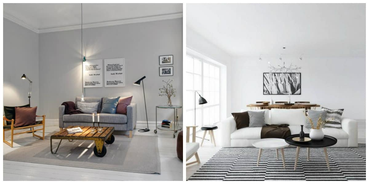Sala estilo escandinavo- uso de diferentes atributos qur ayudan en diseno