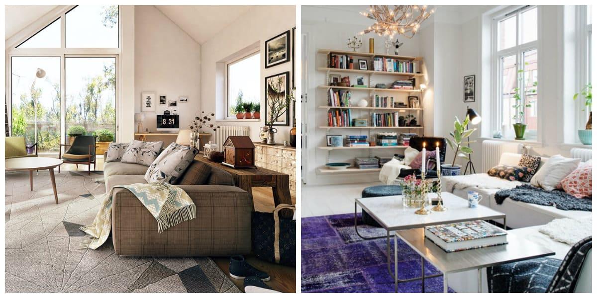 Sala estilo escandinavo- diseno moderno con estanterias para los libros