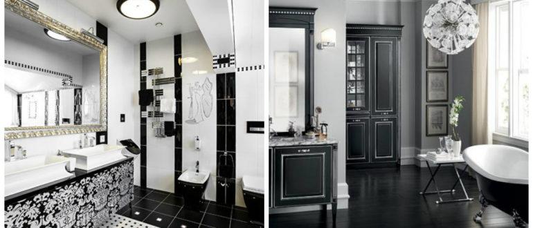 Baños neoclasicos- color negro y blanco en el interior