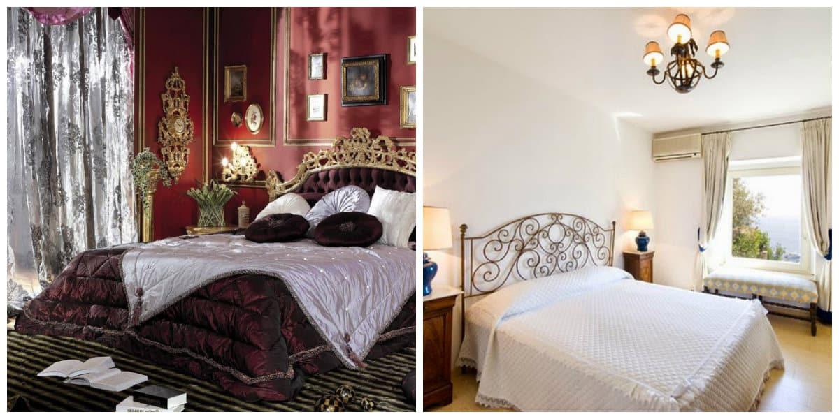 Dormitorios estilo italiano- camas simples y de lujo