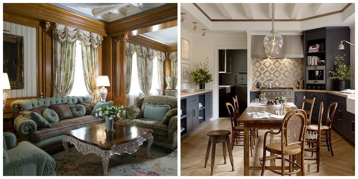 Muebles estilo ingles- sala de estar y cocina