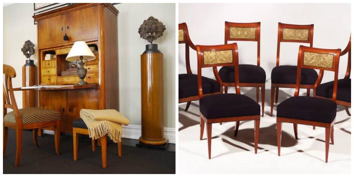 Estilo biedermeier- estanterias y sillas de moda